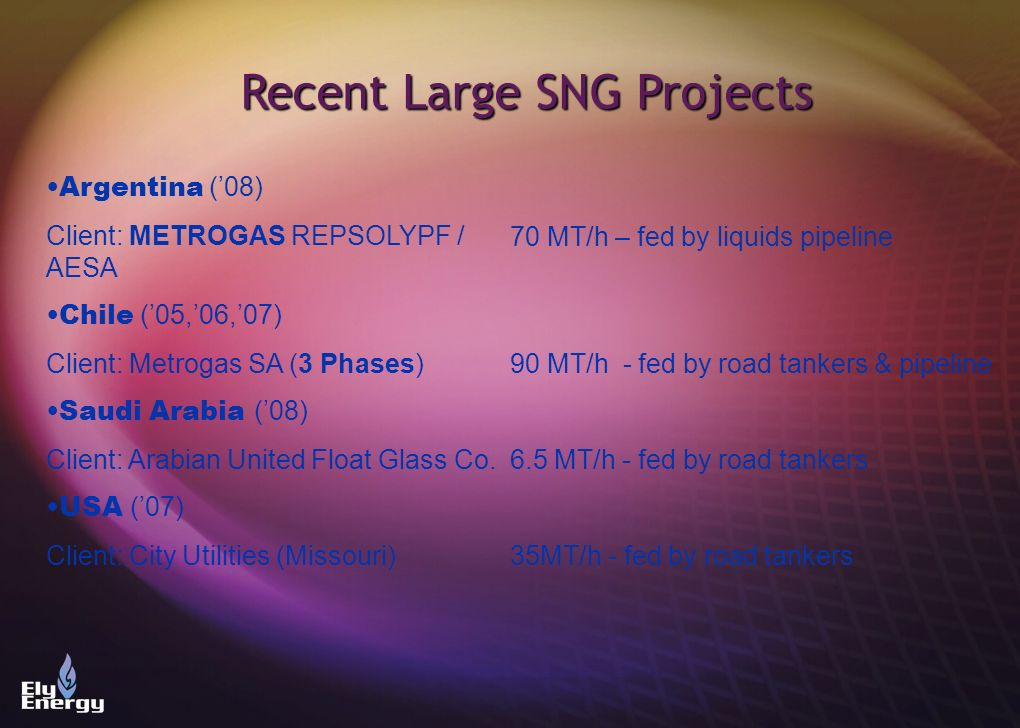 Recent Large SNG Projects