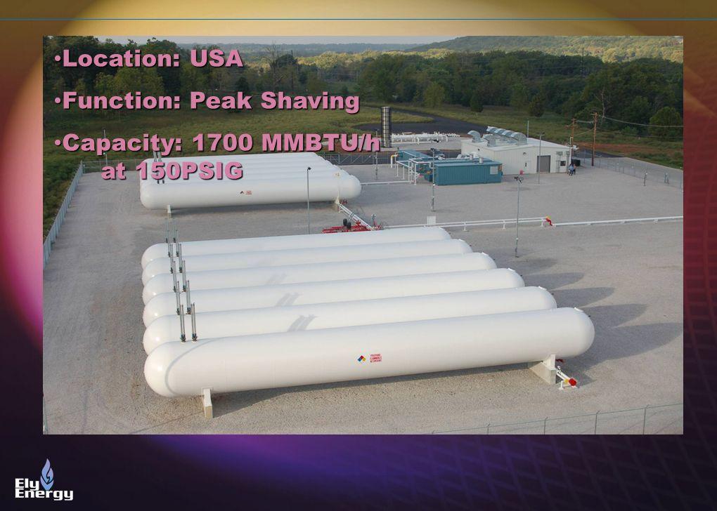 Location: USA Function: Peak Shaving Capacity: 1700 MMBTU/h at 150PSIG
