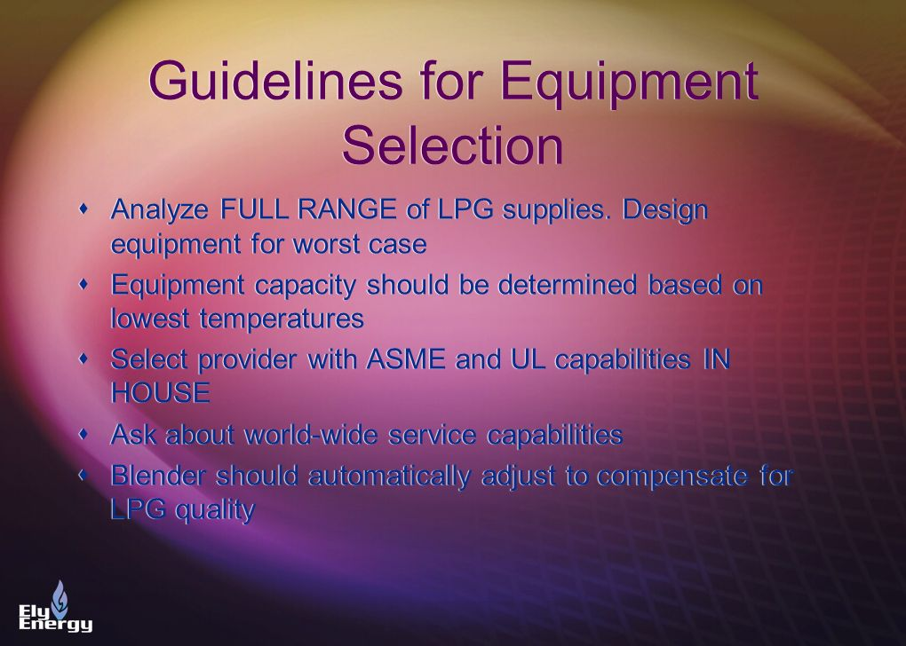 Guidelines for Equipment Selection