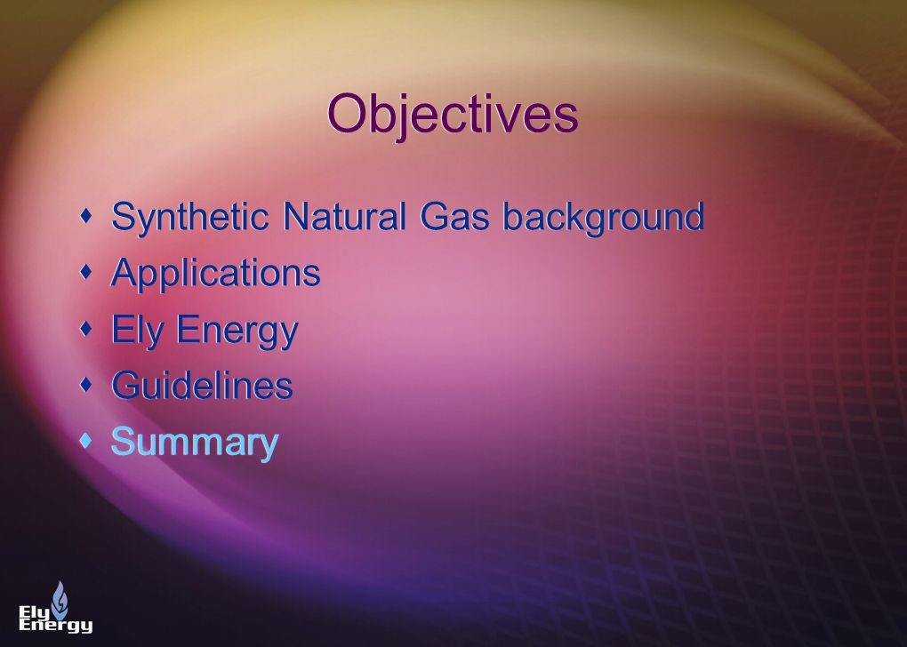 Objectives Synthetic Natural Gas background Applications Ely Energy