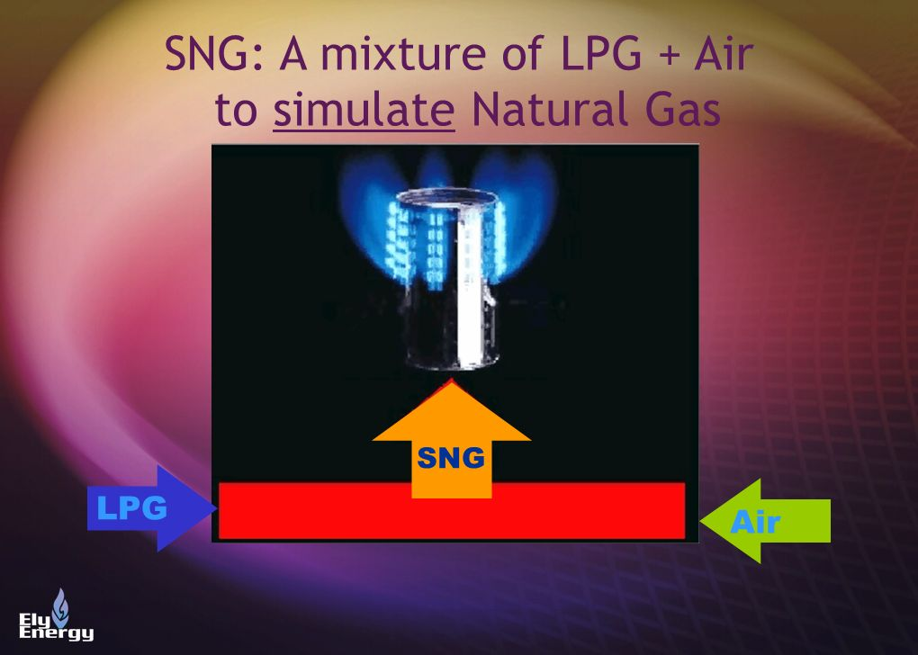 SNG: A mixture of LPG + Air to simulate Natural Gas