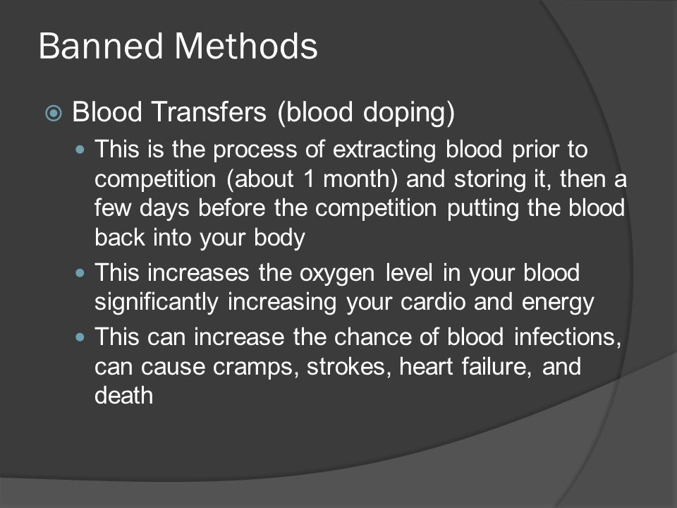 an analysis of the process of blood doping and its effects on health Blood doping in sports to improve performance essays blood doping in sports to improve performance red blood cells if done correctly, this process can.