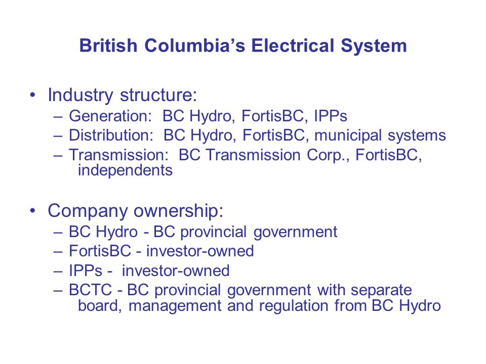 British Columbia's Electrical System