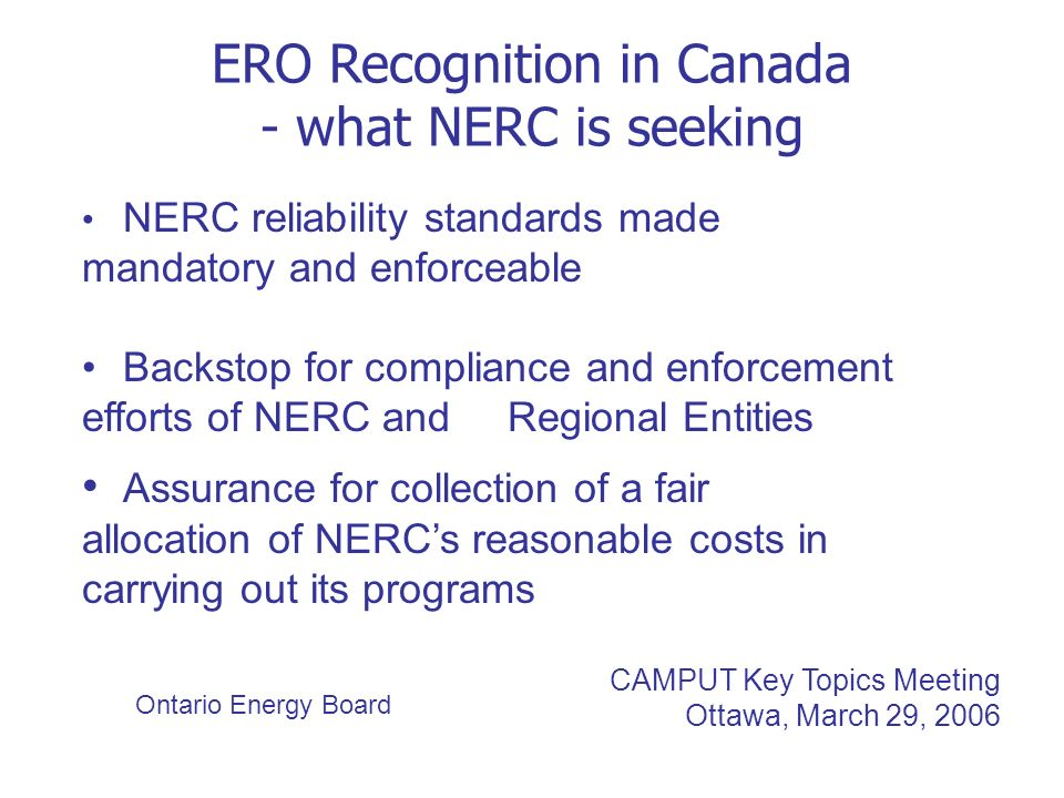 ERO Recognition in Canada - what NERC is seeking