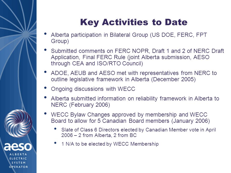 Key Activities to Date Alberta participation in Bilateral Group (US DOE, FERC, FPT Group)