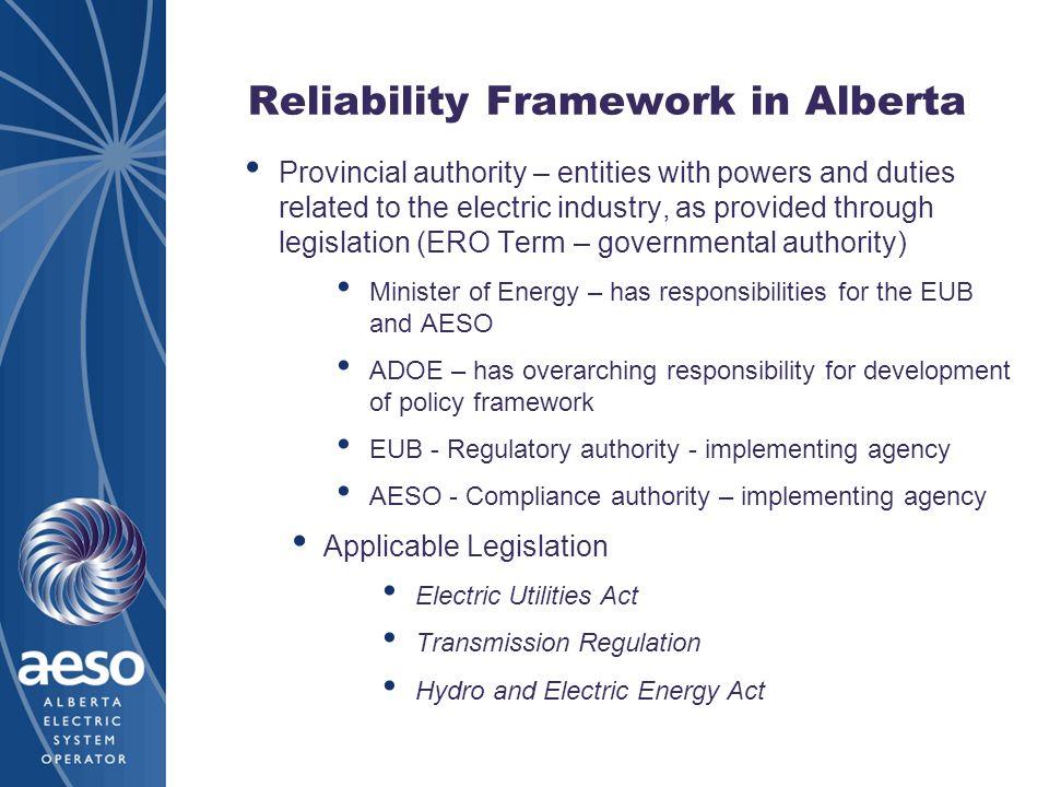 Reliability Framework in Alberta