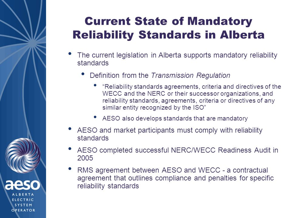 Current State of Mandatory Reliability Standards in Alberta