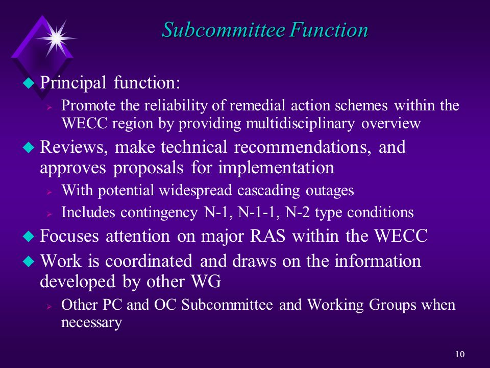 Subcommittee Function