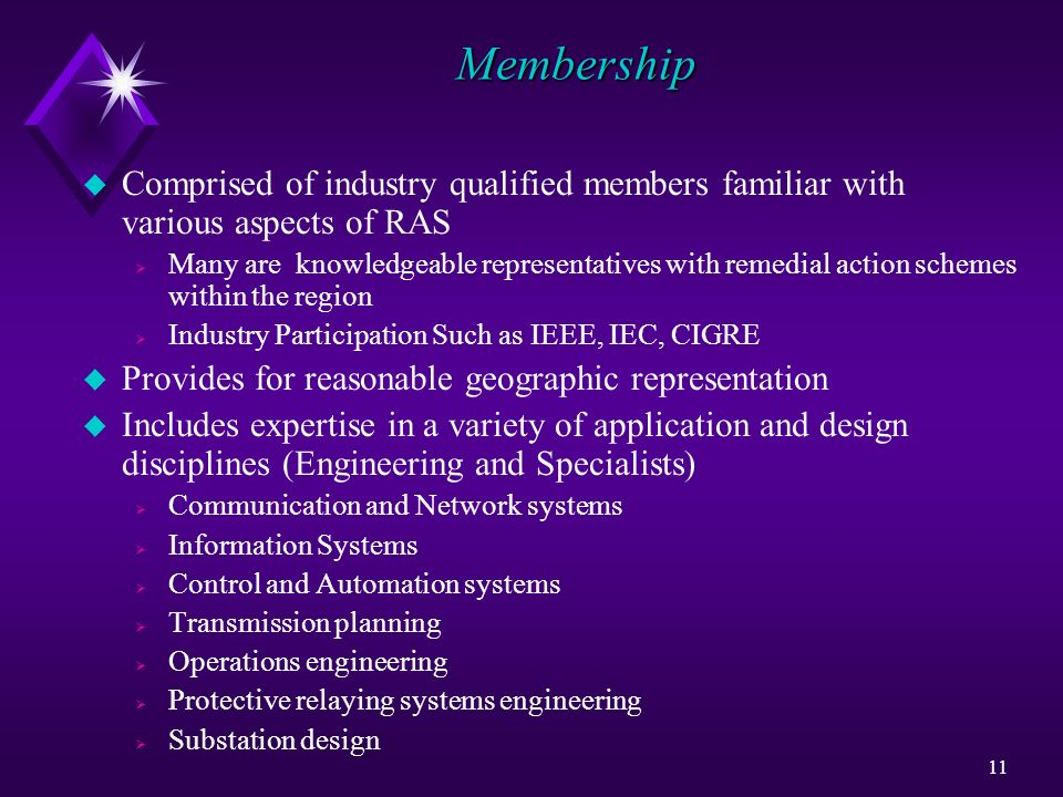 Membership Comprised of industry qualified members familiar with various aspects of RAS.