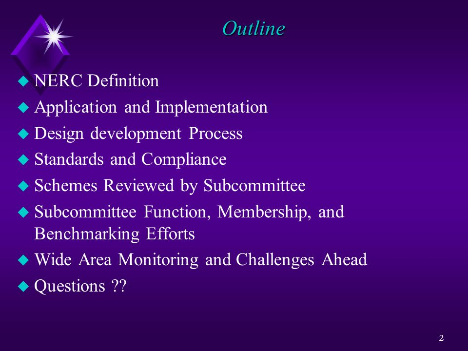 Outline NERC Definition Application and Implementation