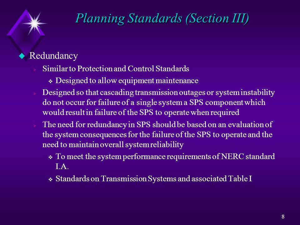 Planning Standards (Section III)