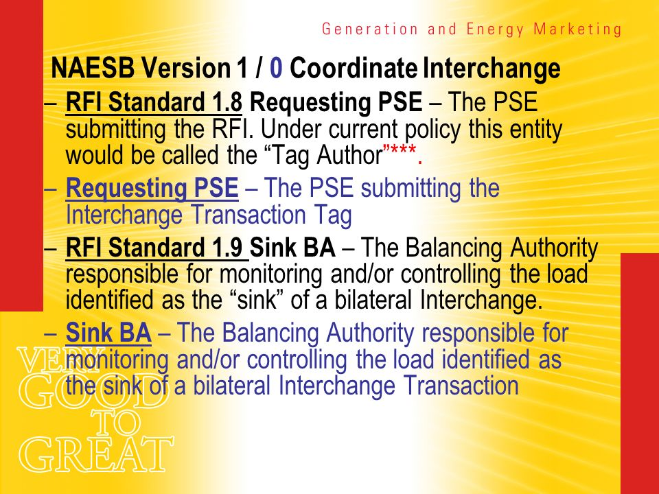 NAESB Version 1 / 0 Coordinate Interchange