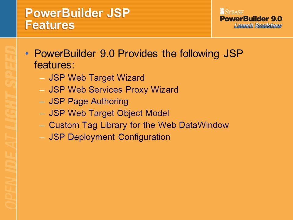 PowerBuilder JSP Features