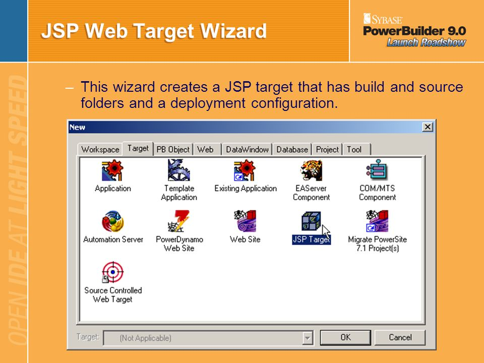 JSP Web Target Wizard This wizard creates a JSP target that has build and source folders and a deployment configuration.