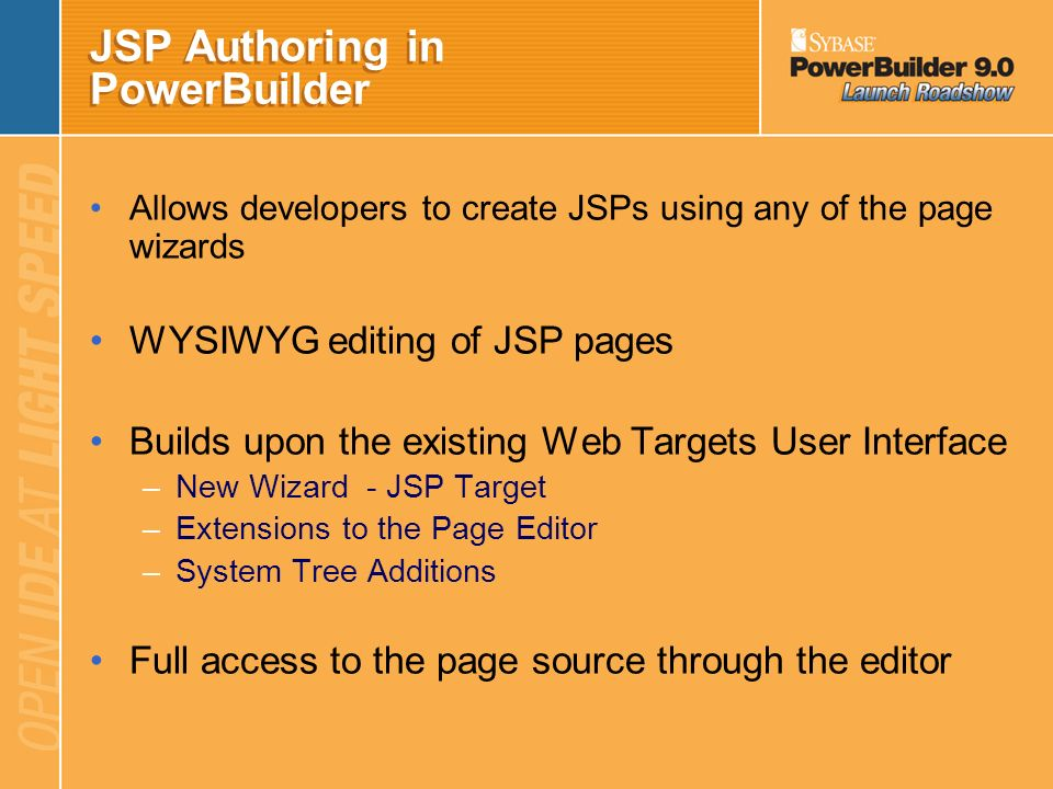 JSP Authoring in PowerBuilder