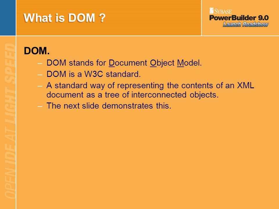 What is DOM DOM. DOM stands for Document Object Model.