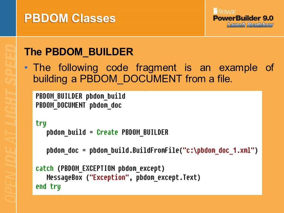 PBDOM Classes The PBDOM_BUILDER