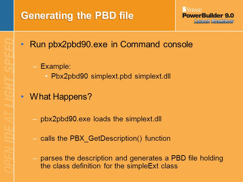 Generating the PBD file