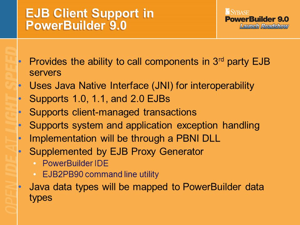 EJB Client Support in PowerBuilder 9.0