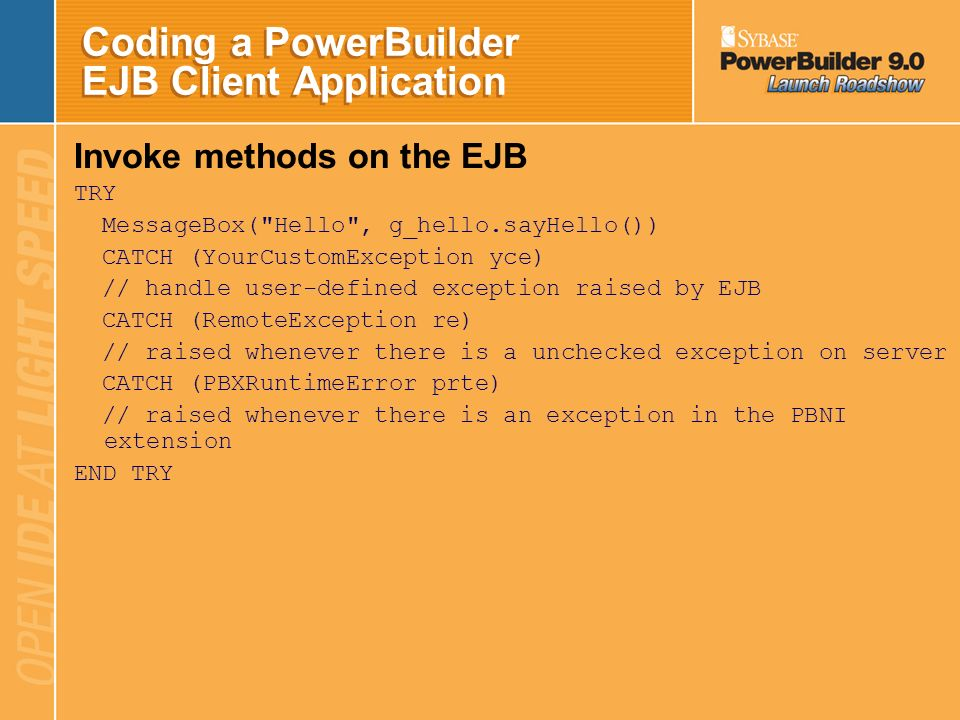 Coding a PowerBuilder EJB Client Application