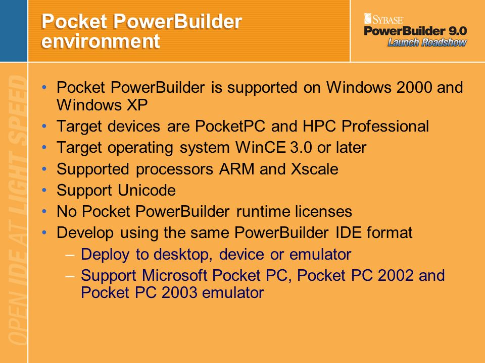 Pocket PowerBuilder environment