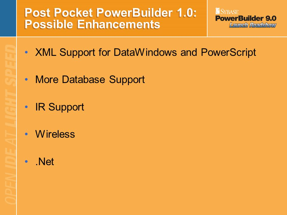 Post Pocket PowerBuilder 1.0: Possible Enhancements