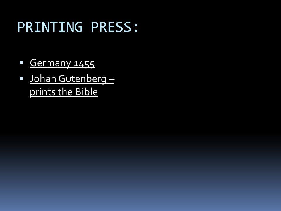 printing press protestant reformation