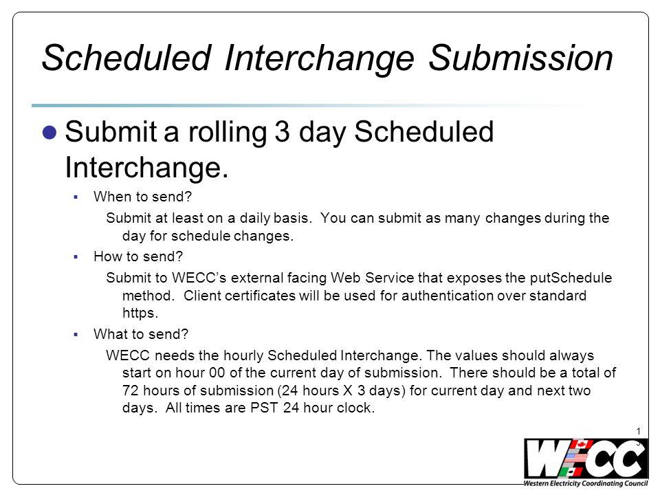 Scheduled Interchange Submission
