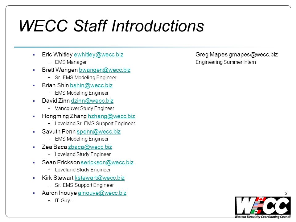 WECC Staff Introductions