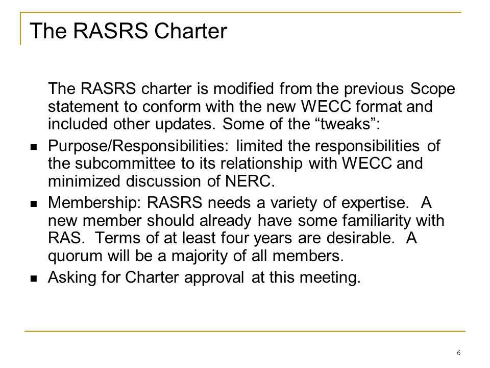 The RASRS Charter