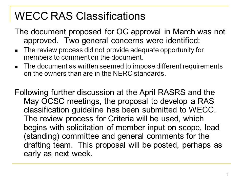 WECC RAS Classifications