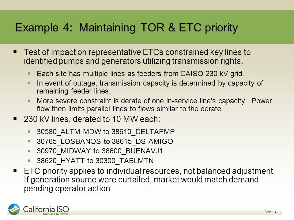 Example 4: Maintaining TOR & ETC priority