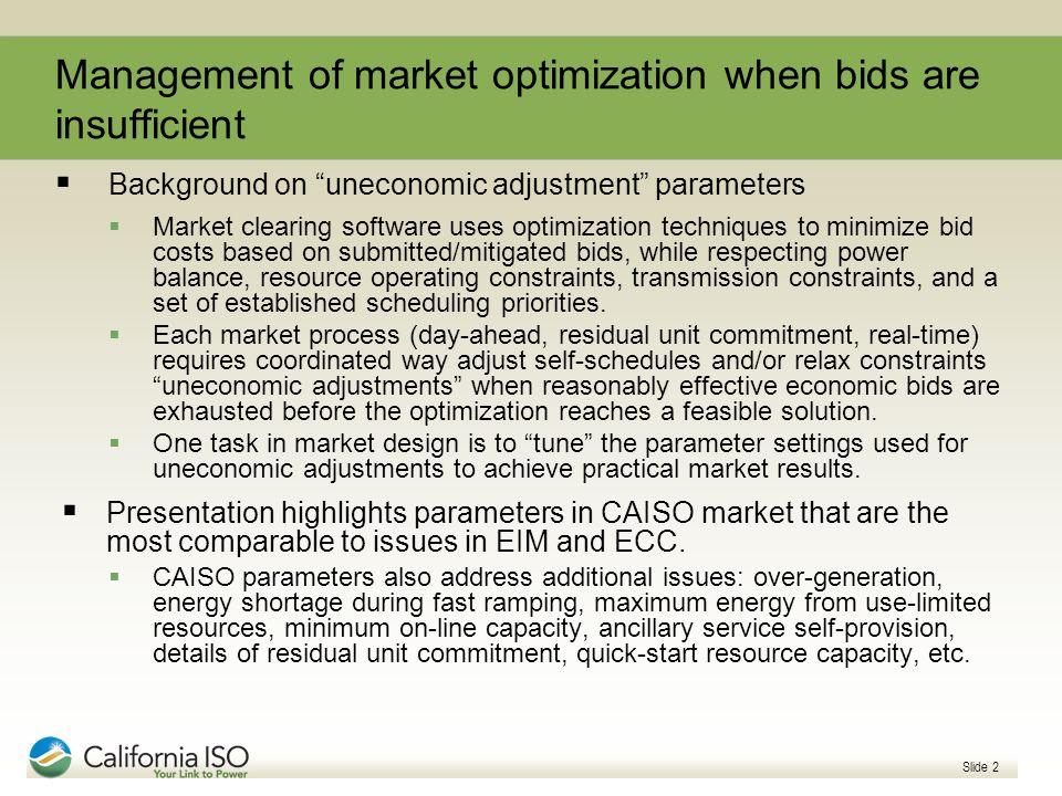 Management of market optimization when bids are insufficient