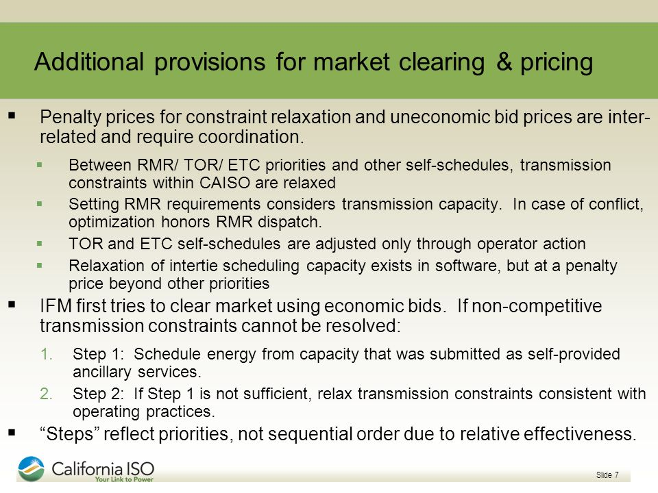 Additional provisions for market clearing & pricing