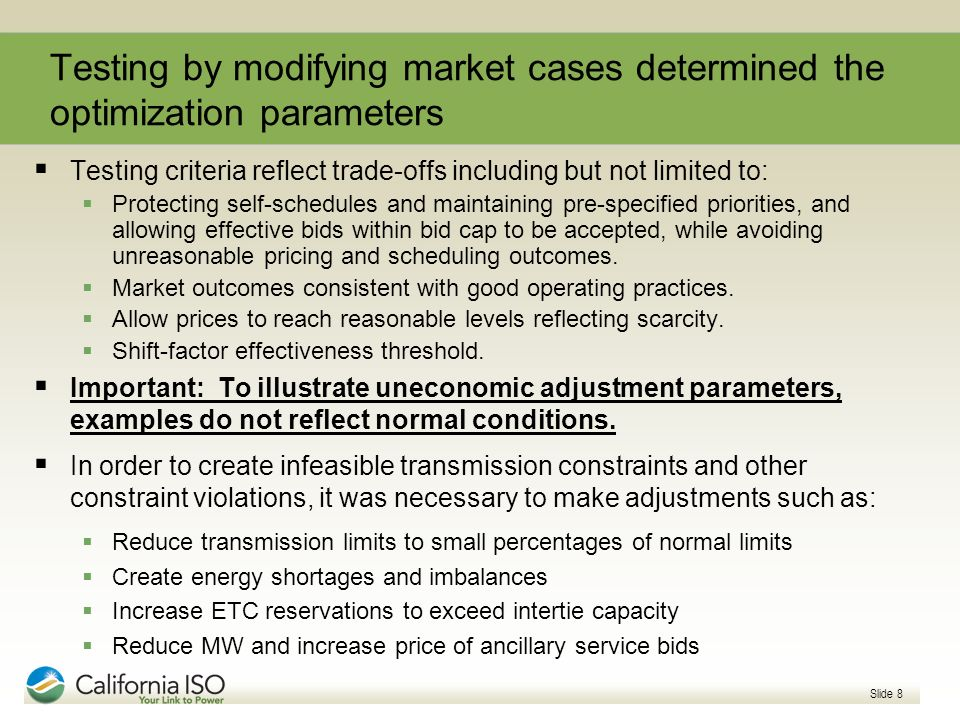 Testing by modifying market cases determined the optimization parameters