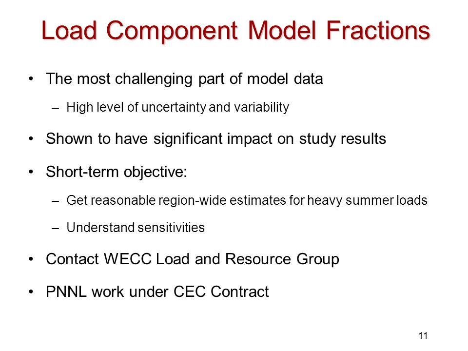 Load Component Model Fractions