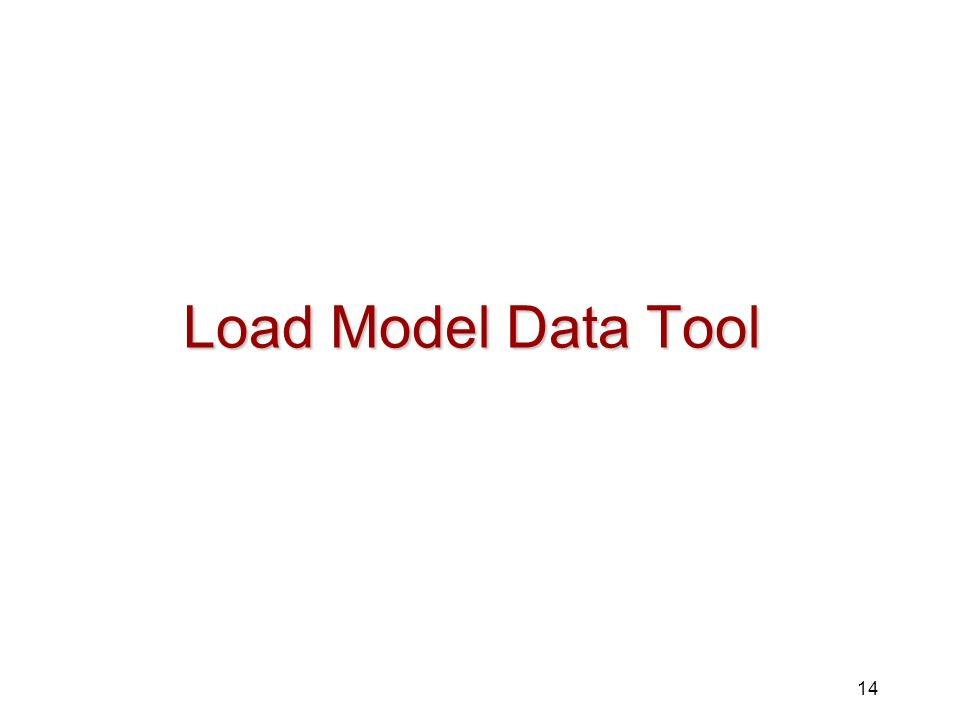 Load Model Data Tool