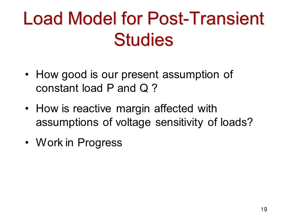 Load Model for Post-Transient Studies