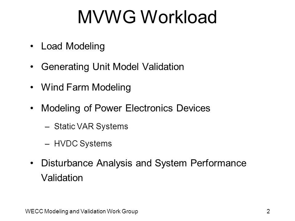 MVWG Workload Load Modeling Generating Unit Model Validation