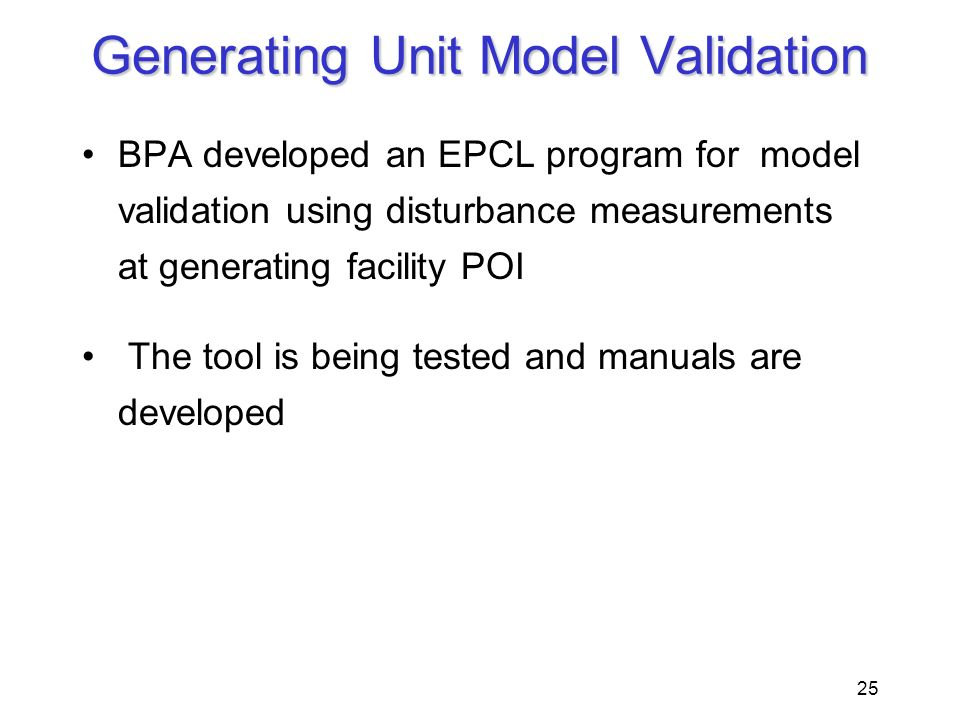 Generating Unit Model Validation