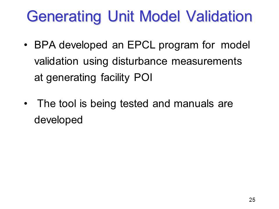 Generating Unit Model Validation