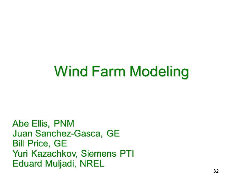 Wind Farm Modeling Abe Ellis, PNM Juan Sanchez-Gasca, GE Bill Price, GE Yuri Kazachkov, Siemens PTI Eduard Muljadi, NREL.