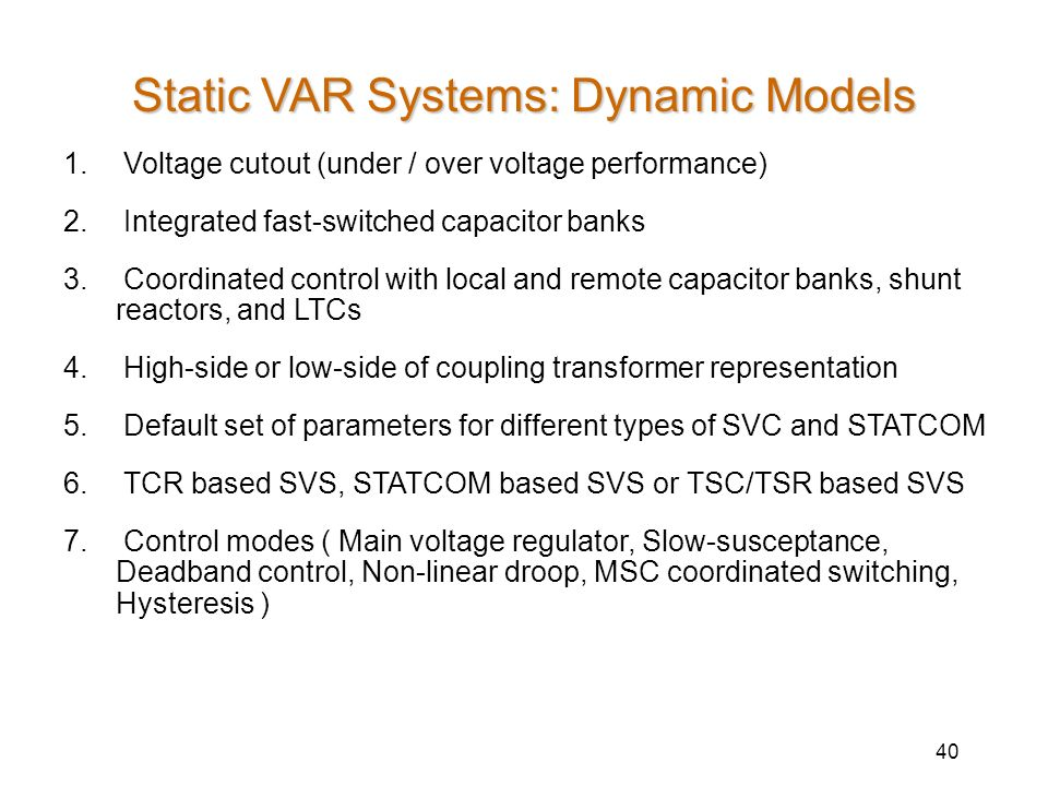 Static VAR Systems: Dynamic Models