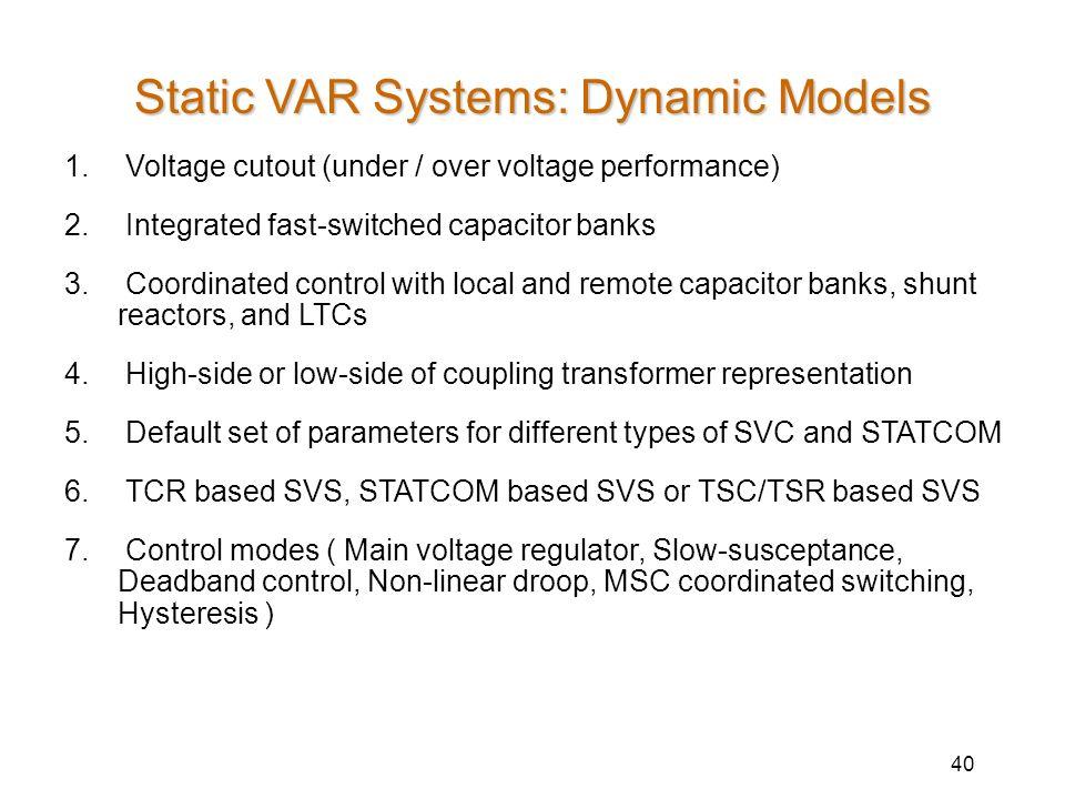 Static VAR Systems: Dynamic Models