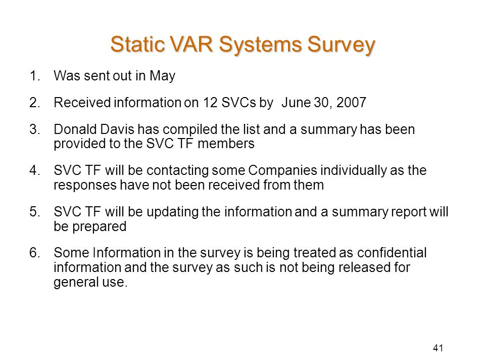 Static VAR Systems Survey