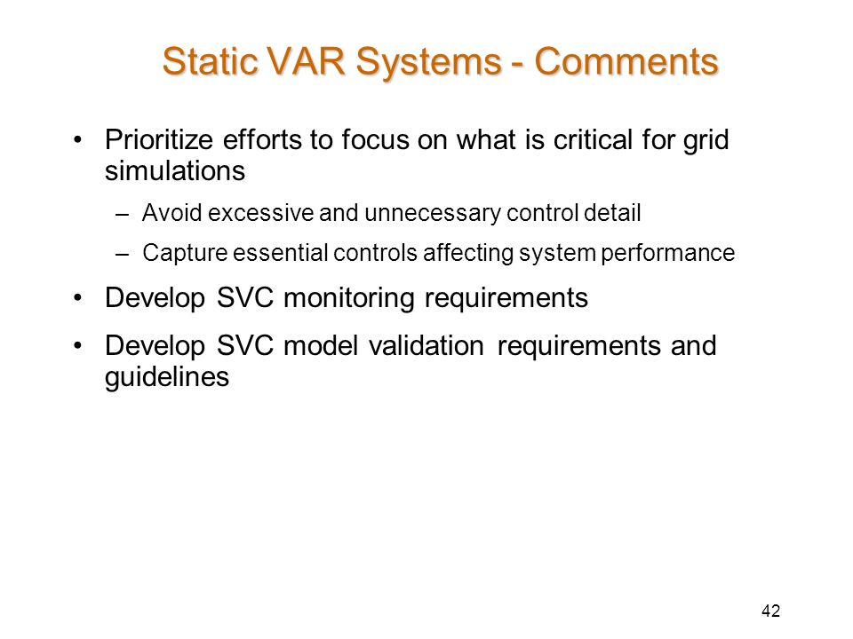 Static VAR Systems - Comments