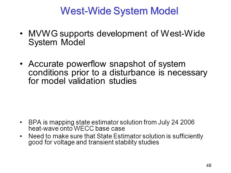West-Wide System Model
