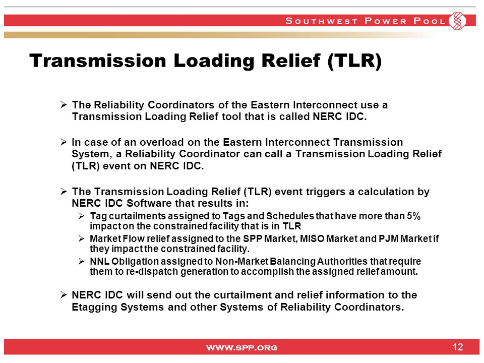 Transmission Loading Relief (TLR)