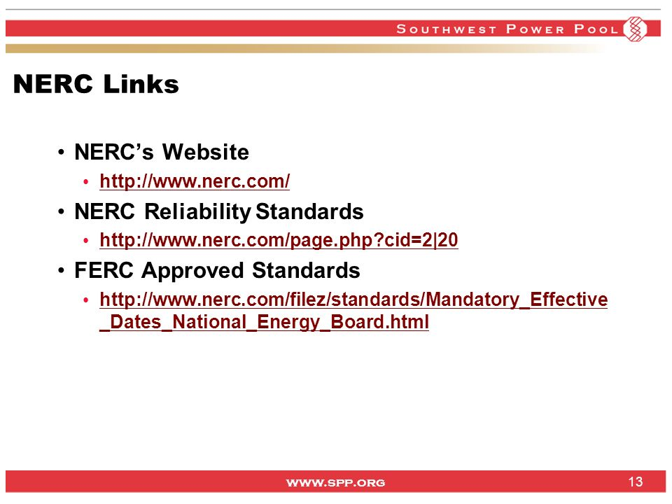 NERC Links NERC's Website NERC Reliability Standards