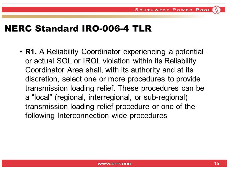 NERC Standard IRO-006-4 TLR